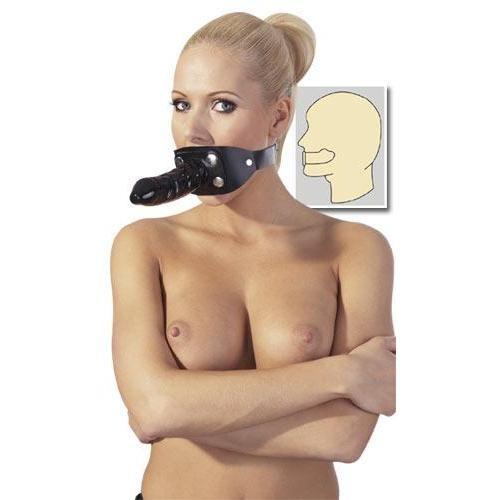 ZADO - Leder Mundknebel mit Latex-Penis