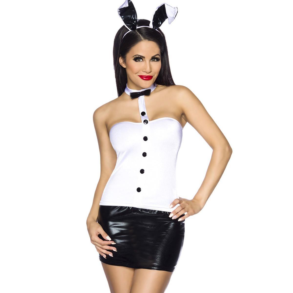 *NL Bunny-Kostüm - weiß/schwarz