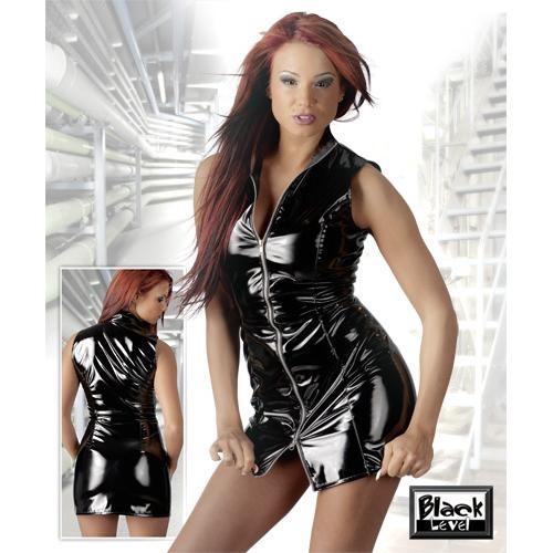Black  Level  -  Lack  Kleid  mit  Zip  -  schwarz
