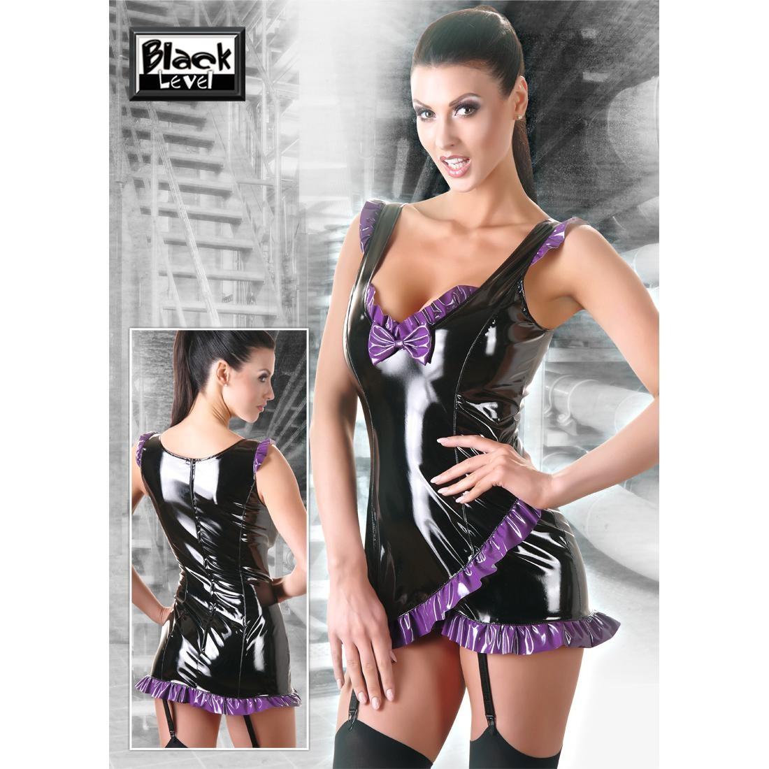 Black  Level  -  Lack  Kleid  schwarz/lila