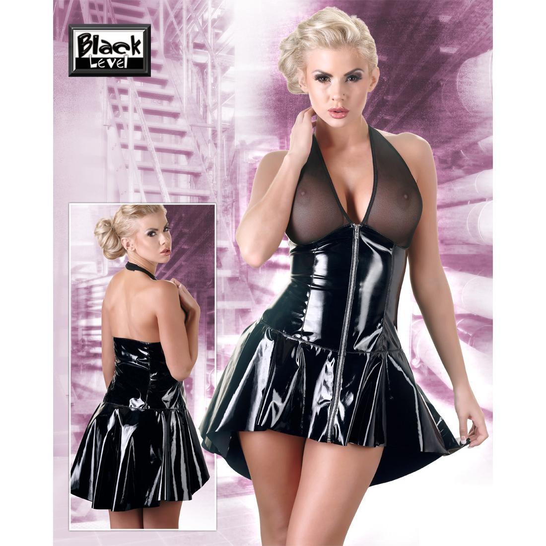 Black  Level  -  Lack  Kleid  mit  Netz