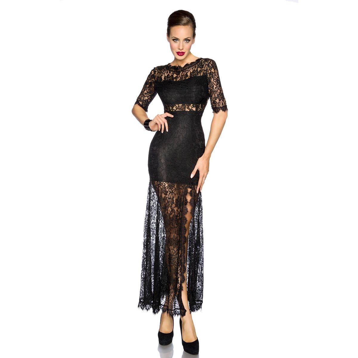 Abendkleid mit Spitze - schwarz