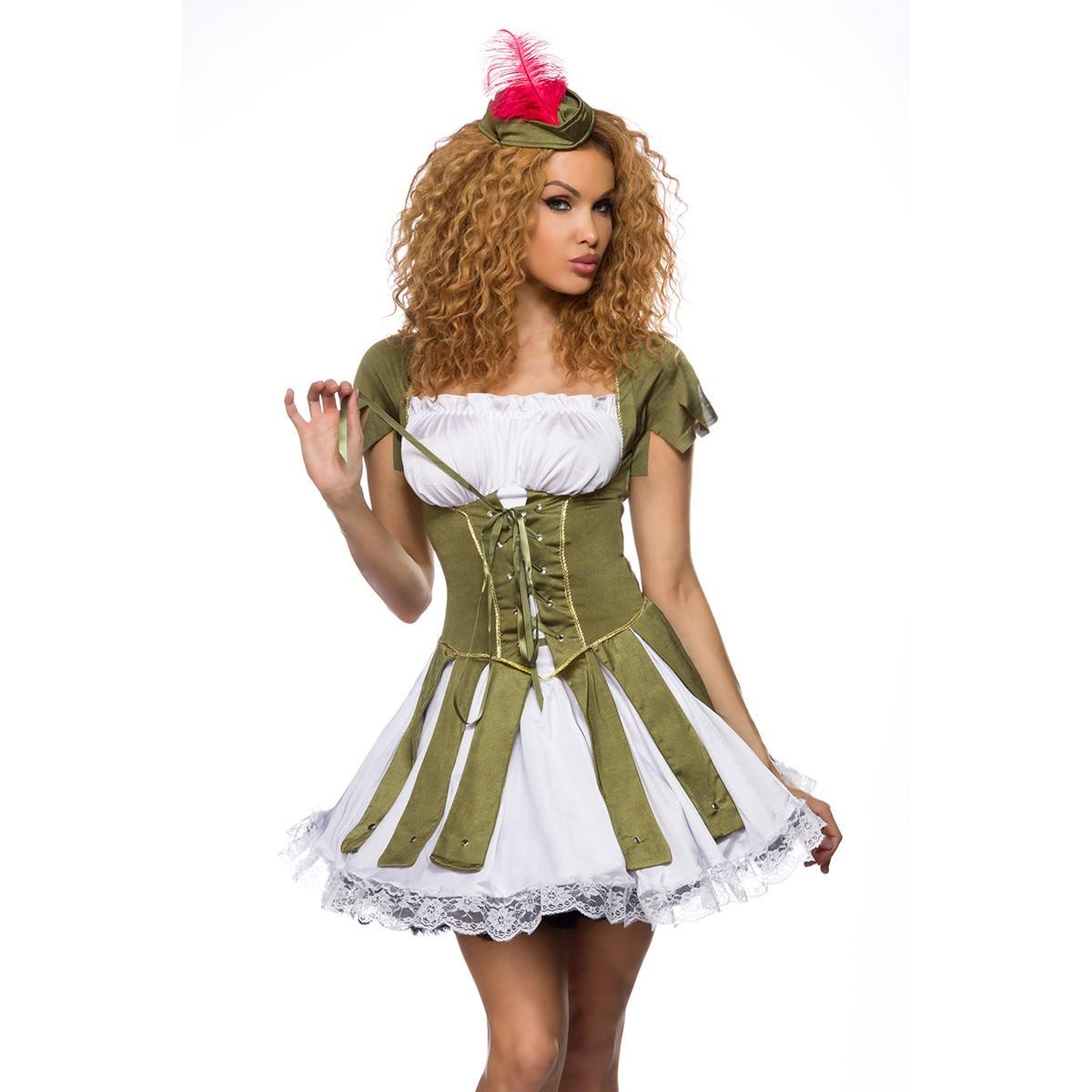*NL sexy Robin Hood Kostüm - grün/weiß