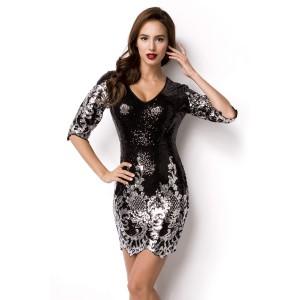 Pailletten-Kleid schwarz/silber