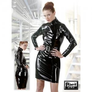 Black Level - Lack Minikleid + Gürtel - schwarz