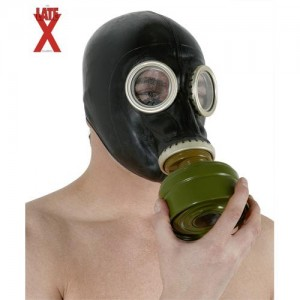Latex Gasmake schwarz