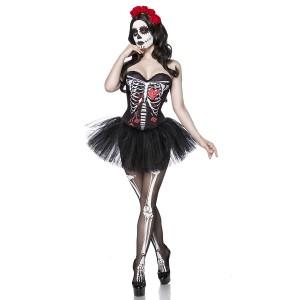 Mask Paradise - Skull Senorita Kostümset - schwarz-weiß-rot