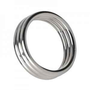 Stainless Steel Triple Cock Ring - M/L