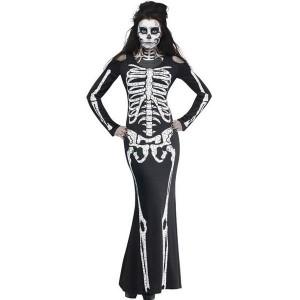 Skeleton Lady Skelett Kleid Erwachsene Halloween-Kostüm