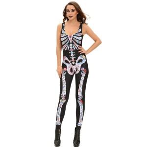 Mexican Skull Halloween Skelett Overall Horror Catsuit Damen Karneval XS-M
