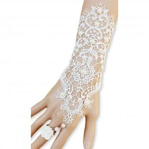 Handstulpen mit Spitze und Ring - weiß